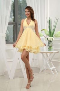Beautiful Puffy Halter Appliqued Yellow Mini Prom Dress in the Mainstream