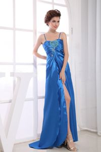 Zipper-up Spaghetti Straps Slitted Royal Blue Long Prom Dress Plus Size