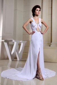 Newest Zipper up Slitted White Formal Prom Outfits with Straps and Cutouts