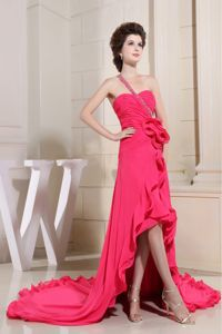 Showy One Shoulder High-low Coral Red Prom Dress with Special Back Design