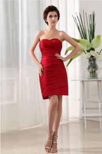 Desirable Taffeta Wine Red Ruched Mini-length Prom Dress in Fashion