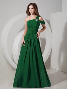 Affordable One Shoulder Dark Green Long Dresses for Prom in Chiffon