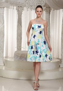 Wholesale Strapless Printing Colorful Pleated Short Prom Dress under 150