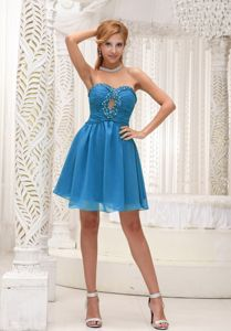 Beaded Teal Short Informal Prom Dresses for Flat Chested Girls with Cutout