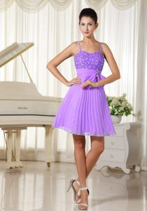 Well-Packaged Beaded Short Pleated Lavender Prom Dress with Spaghetti Straps