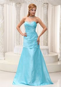 A-line Sweetheart Formal Senior Prom Dress in Aqua Blue with Beading