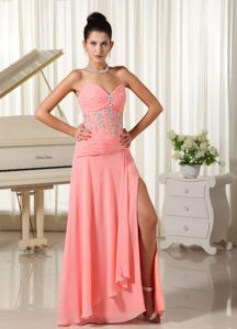 Sweetheart Beaded Slitted Watermelon Long Prom Attire Fast Shipping