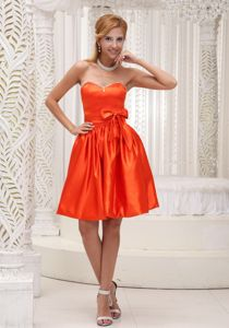 Sweetheart Lace-up Orange Red Short Prom Dresses with Bowknot Discount