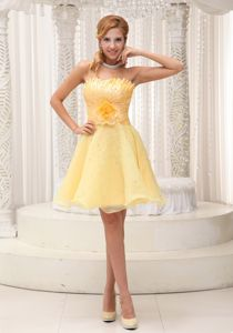 Pretty Organza Short Yellow Prom Dress for Summer under 100 on Sale