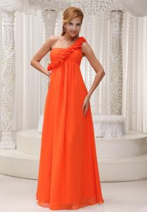 Customer Made One Shoulder Orange Red Long Dress for Prom with Flowers