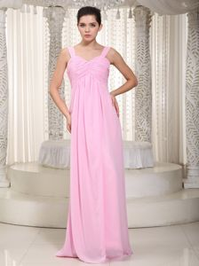 Baby Pink Floor-length Chiffon Ruched Prom Gown Dress in Madison