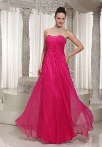 Strapless Hot Pink Beaded Dresses for Formal Prom in Brookfield WI