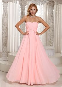 Baby Pink Ruched Prom Gown Dresses in Chiffon in Milwaukee WI