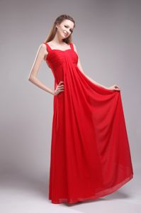 Red Floor-length Chiffon Ruched Prom Dress with Straps in Vancouver