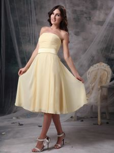 Strapless Ruched Light Yellow Prom Gown Dress in Chiffon in Spokane