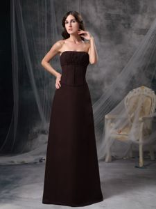 Brown Strapless Floor-length Satin Ruched Informal Prom Dress in Poulsbo