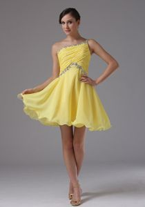 One Shoulder Yellow Prom Dress with Ruches and Beading in Bear Valley California