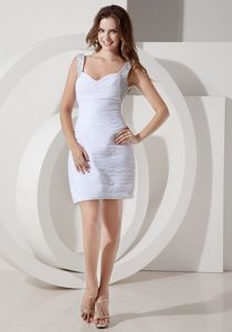 Chiffon Mini-length White Dresses for Prom with Straps and Beading