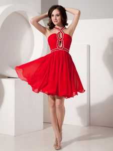 Red Chiffon Beaded Mini-length Prom Cocktail Dress with Straps in Kirkland