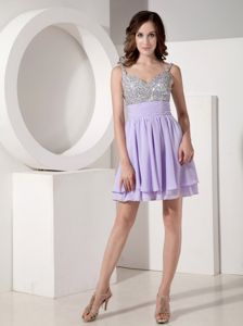 Mini-length Chiffon Beaded Prom Cocktail Dresses in Lilac in Kennewick