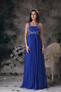 Straps Chiffon Beaded Floor-length Prom Gown Dress in Royal Blue