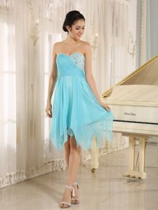 Aqua Sweetheart Short Prom Dress with Beading in Abbeville Alabama