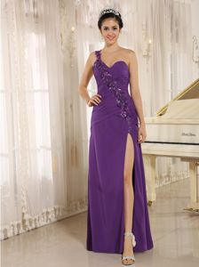 Purple Sequined Prom Gown Dress with High Slit in Federal Way WA