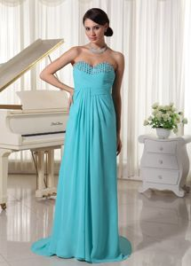 Aqua Blue Ruched Sweetheart Beaded Prom Dress with Brush Train