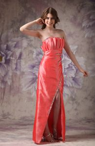 Orange Red Strapless Taffeta Floor-length Prom Attire with Beading