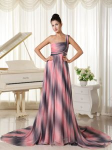 Chiffon One Shoulder Prom Dress With Court Train in Omber Color in Bothell