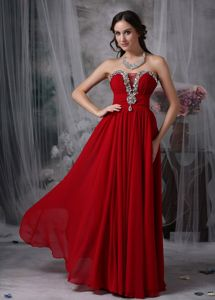 Red Strapless Chiffon Prom Evening Dress with Beading in Gig Harbor