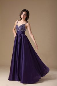 Purple Beaded Prom Evening Dress with Spaghetti Straps in Bremerton
