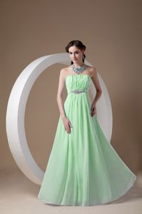 Strapless Chiffon Beaded Prom Dress in Light Green with Ruches in Everett