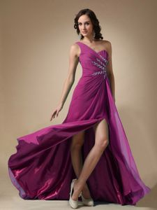 Fuchsia One Shoulder Chiffon Beaded Prom Dresses with High Slit
