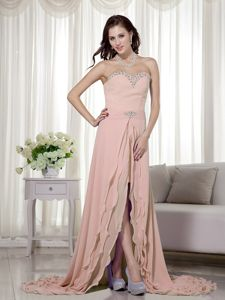 Peach Pink High Low Chiffon Beaded Prom Dress with Brush Train