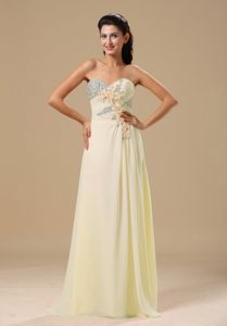 Beaded Hand Flowery Yellow Chiffon Prom Dress in Friday Harbor
