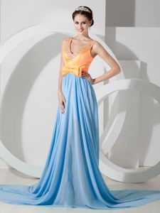 V-neck Chiffon Light Blue and Orange Beaded Chiffon Prom Dress