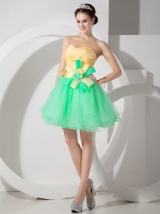 Green and Yellow Sweetheart Short Prom Dress with Hand Flowers