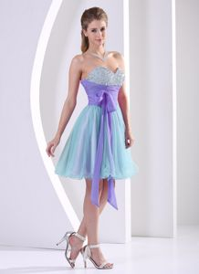 Beaded Sweetheart Multi-colored Knee-length Prom Dress with Sash