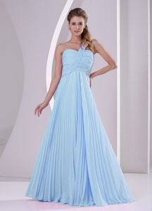One Shoulder Pleated Prom Gown with Brush Train in Baby Blue in Auburn