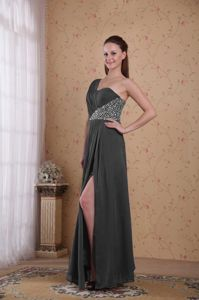 Grey One Shoulder Chiffon Ruched Prom Dress with High Slit in Everett