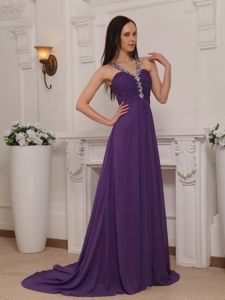 Purple V-neck Beaded Ruched Prom Attire with Brush Train in Lynnwood