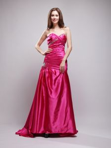 Beaded Ruched Prom Dress Sweetheart with Brush Train in Hot Pink