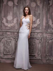White One Shoulder Beaded Prom Dresses in Chiffon with Ruches