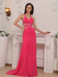 Coral Red Halter Chiffon Beaded Prom Dresses with Brush Train in Redmond