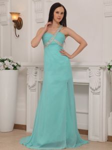 One Shoulder Chiffon Beaded Prom Pageant Dress with Brush Train
