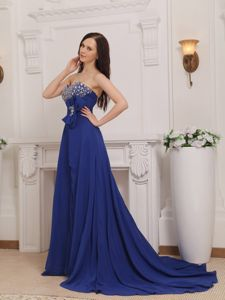 Sweetheart Chiffon Beaded Prom Dress in Blue with Court Train in Pullman
