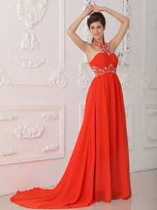 Red Halter Chiffon Beaded Prom Evening Dress with Court Train in Olympia