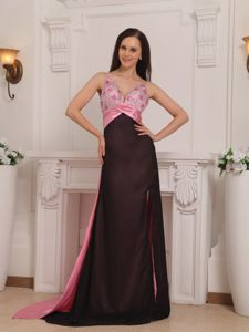 Pink and Black Beading Prom Gown Dress with Brush Train in Kirkland