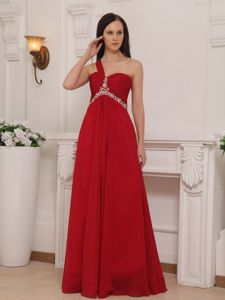 One Shoulder Floor-length Chiffon Beaded Ruched Red Prom Dress